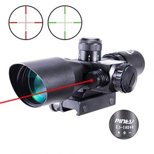 Pinty Rifle Scope-Red Green Illuminated Mil-dot Recticle with Laser