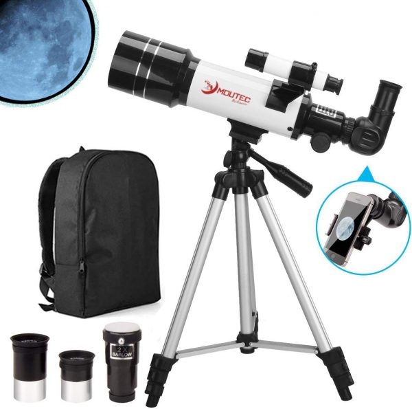 MOUTEC Refractor Telescope with Tripod - Smartphone Adapter - Backpack