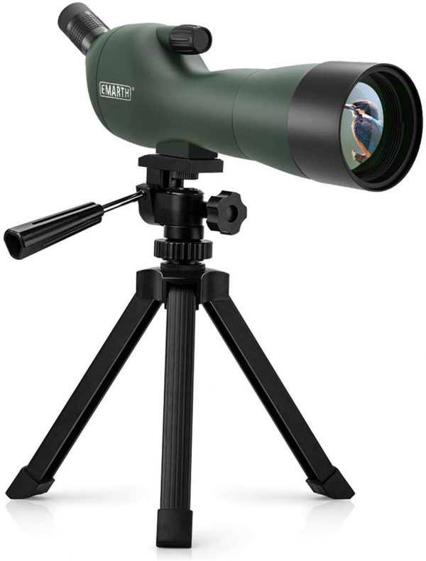 Emarth Spotting Scope with Tripod - 45 Degree Angled Eyepiece