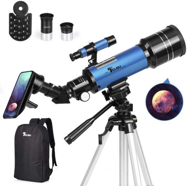 TELMU Refractor Telescope with Backpack - Phone Adapter - Eyepieces